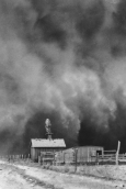 Image of a farm overtaken by a dust storm